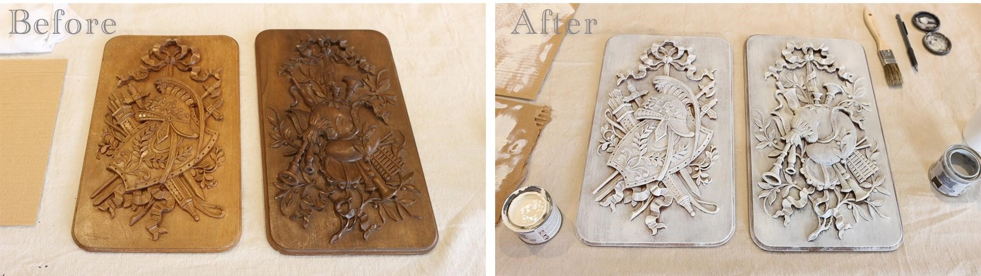 Before and after antique panel transformation using Amitha Verma Chalk Finish Paint.